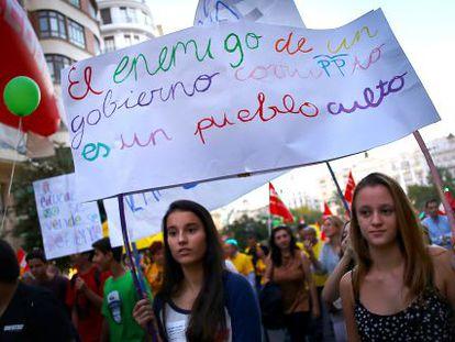 Estudiantes participantes en la manifestación celebrada en Valencia.