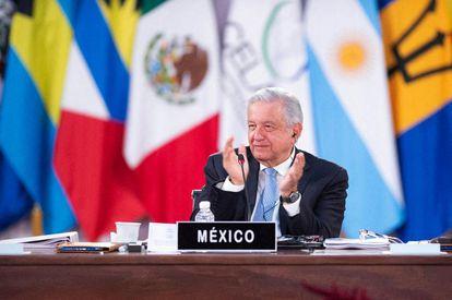 Andrés Manuel López Obrador, participando en la Sexta Cumbre de la CELAC en el Palacio Nacional.