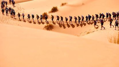 Participantes en el Maratón de las Arenas en el desierto del Sáhara.