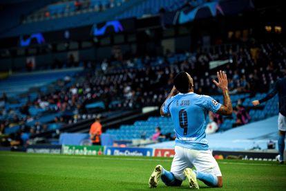 Gabriel Jesus celebra su gol ante el Madrid.