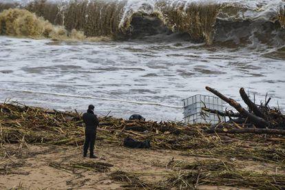 Estado de las playas tras el temporal en Malgrat.