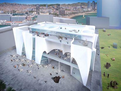 Imagen del edificio proyectado por el arquitecto Toyo Ito para el Hermitage de Barcelona.