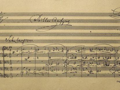 Detalle de la partitura original de 'Parsifal', de Richard Wagner.