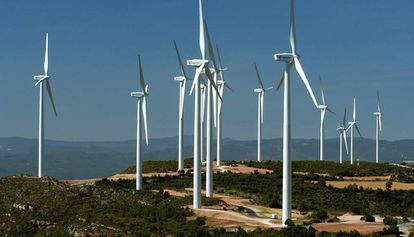 Vista del parque eólico de Rubió (Barcelona), con una potencia de 49,5 megawatios.
