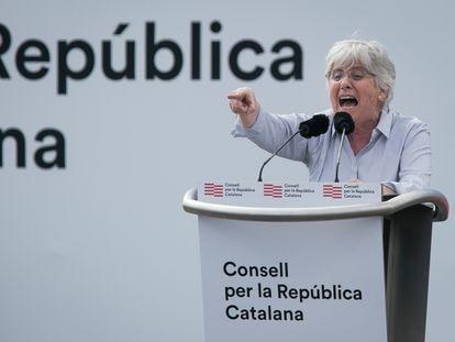 Clara Ponsatí en el acto independentista celebrado el pasado 29 de febrero en Perpiñán.