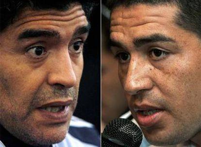 Diego Maradona (izquierda) y Juan Román Riquelme (derecha).