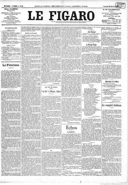 Manifiesto futurista en la portada del diario 'Le Figaro'.