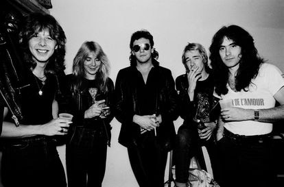 Iron Maiden backstage during the 'Killer World Tour', in Lynwood, Illinois, in 1981.