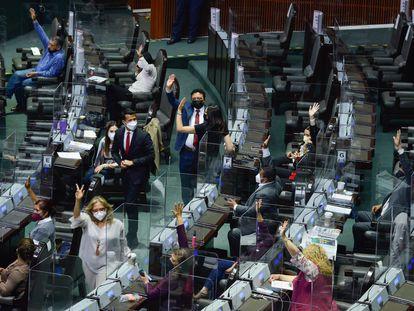Sesión semipresencial en la Cámara de Diputados de México, el pasado 14 de abril.