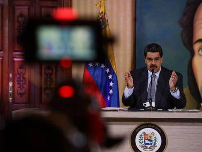 Nicolás Maduro en una rueda de prensa en Caracas este lunes.