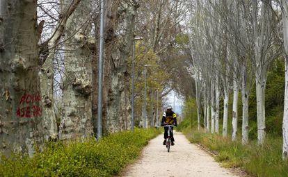 Un ciclista por la Senda Real (GR-124) cerca de Madrid.