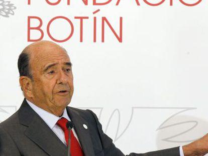 Emilio Botín en la presentación de la memoria anual de la Fundación.
