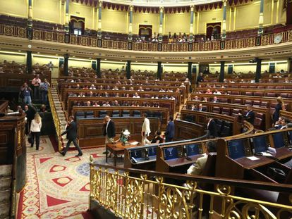El hemiciclo del Congreso de los Diputados durante una votación sobre RTVE.