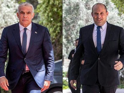 Yair Lapid, a la izquierda; y Naftali Bennett, en mayo de 2021, en Jerusalén.