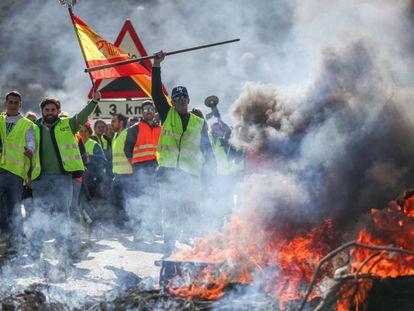 Olivareros de Granada y Jaén cortan la A-44 como protesta por los precios el pasado jueves. En vídeo, el ministro de Agricultura, Luis Planas, convoca a las organizaciones agrarias a una mesa de diálogo.
