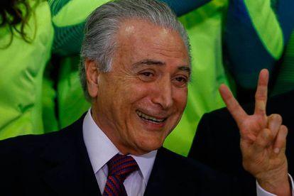 El presidente interino de Brasil, Michel Temer, al recibir a los atletas de los juegos paralímpicos el lunes 29 de agosto de 2016