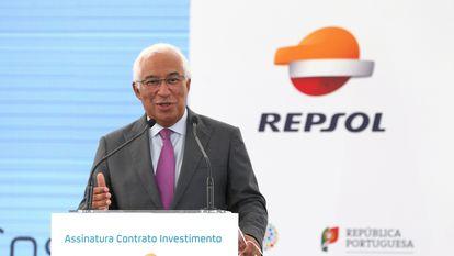 El primer ministro luso, António Costa durante la presentación de las dos nuevas fábricas de polímeros que construirá Repsol en el complejo industrial de Sines. EFE/ MANUEL DE ALMEIDA/LUSA