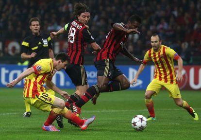 Messi marca el gol del Barça frente a Montolivo y Constant