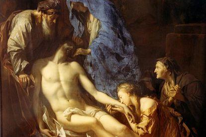 'Entierro de Cristo' de Pieter van der Werff, fechado en 1709. El la pintura más antigua conocida donde se utilizó el azul de Prusia.