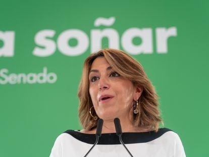 La secretaria general del PSOE de Andalucía, Susana Díaz, interviene  en la reunión con los grupos parlamentarios socialistas andaluces del Congreso y del Senado.