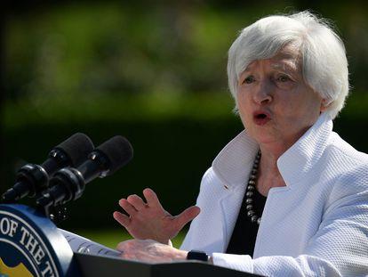 La secretaria del Tesoro de EE UU, Janet Yellen, atiende a los medios tras la reunión del G7 el 5 de junio del G7.