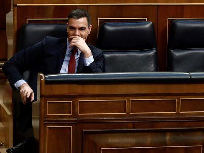 El presidente del Gobierno, Pedro Sánchez (izquierda) y el vicepresidente segundo y ministro de Derechos Sociales, Pablo Iglesias, en el Congreso.