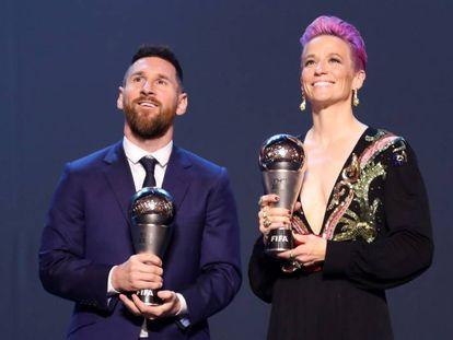 Messi y Rapinoe, con el premio The Best.