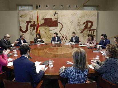 El vicepresidente de la Generalitat, Pere Aragonés, ha presidido hoy la reunión del Govern.