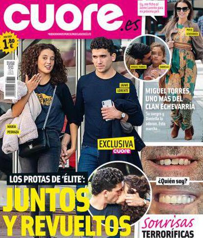 María Pedraza y Jaime Lorente en la portada de la revista 'Cuore' de esta semana.