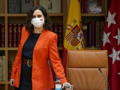 La presidenta de la Comunidad de Madrid, Isabel Díaz Ayuso, este lunes durante la reunión del Plan Territorial de Protección Civil de la Comunidad de Madrid.