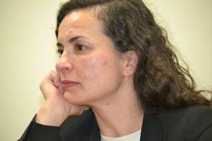 Almudena Bernabeu, durante la entrevista.