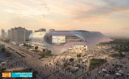 Recreación virtual del futuro Arena proyectado por la sociedad patrimonial de Juan Roig en Valencia.