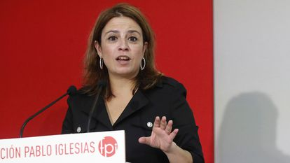 La vicesecretaria general del PSOE, Adriana Lastra, en un acto en Madrid el viernes.