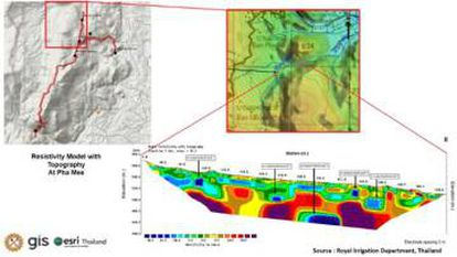 Diagrama que muestra los resultados de las mediciones, en combinación con el perfil de la cueva y mapas topográficos. El modelo de resistividad refleja los tramos cubiertos de agua en azul oscuro, que coinciden con los tramos de la cueva a una altura de entre 460 y 480 metros.