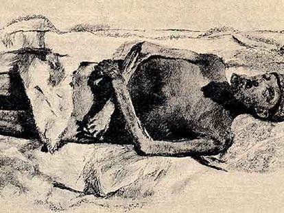 Los restos de Carlos V en su sepulcro del panteón de El Escorial.
