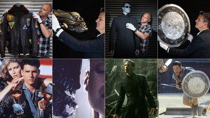 Piezas de 'Top Gun', 'Alien', 'Matrix' y 'Gladiator' que saldrán a subasta el próximo diciembre.