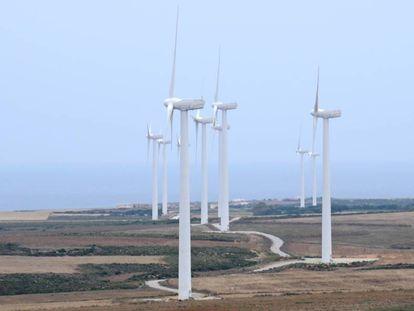 Instalación de energía eólica en Túnez.