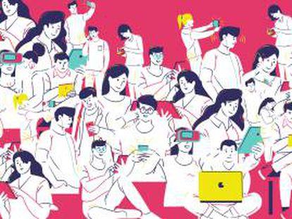 Alrededor del mundo, el 66% de la población utiliza teléfonos móviles (5.150 millones de personas) y el 59% es usuario de Internet.