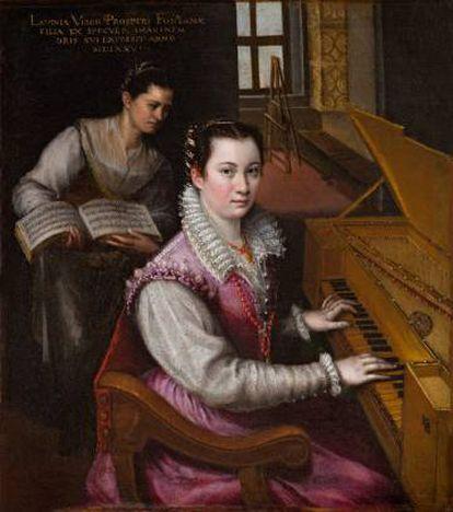 'Autorretrato tocando la espineta', Lavinia Fontana,1577
