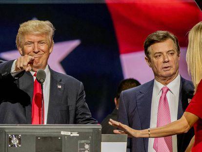 Desde la izquierda, Donald Trump, Paul Manafort e Ivanka Trump, durante la Convención Nacional Republicana, en Cleveland, en 2016.