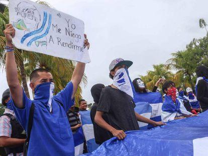 Manifestación de jóvenes contra el régimen de Daniel Ortega en Nicaragua el pasado domingo.