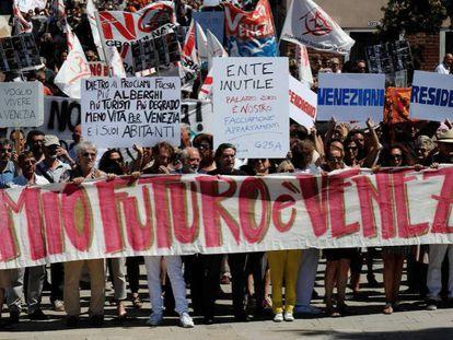 Venecianos protestan contra el turismo el pasado 2 de julio.