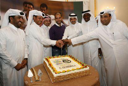 Guardiola, viajando a Qatar para promover la candidatura al Mundial 2022.