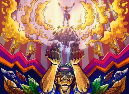 Una ilustración de una ceremonia maya.