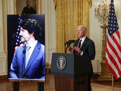 El presidente de EE UU, Joe Biden, y el primer ministro de Canadá, Justin Trudeau, en una videoconferencia esta semana.