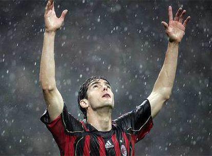 Kaká, tras marcar el primer gol del Milan al Manchester en San Siro.