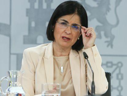 La ministra de Sanidad, Carolina Darias, en la rueda de prensa tras el Consejo Interterritorial, este miércoles.