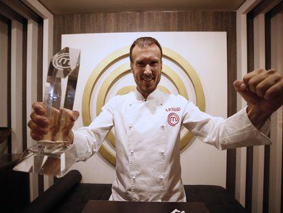Arnau París, ganador de la novena edición de 'MasterChef', este miércoles en el Restaurante MasterChef en Madrid.
