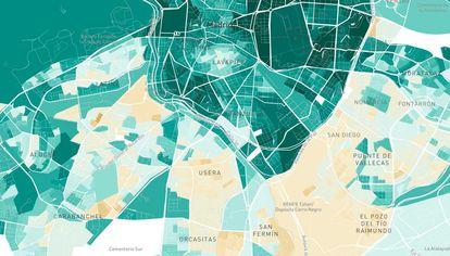 En marrón, las zonas con menos de 3.000 euros de renta de media por persona y por hogar; en verde claro, 10.250 de media; en verde oscuro, más de 25.000 euros de renta de media. Con datos de la Instituto Nacional de Estadística, publicados en septiembre de 2019.