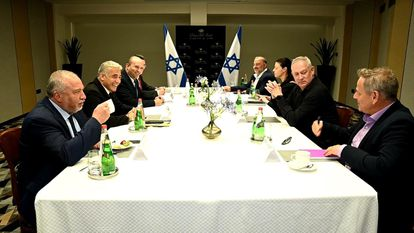 Clockwise: Avigdor Lieberman, (first from left), Yair Lapid, Naftali Bennett, Gideon Saar, Mansur Abbas, Merav Michaeli, Benny Gantz and Nitzan Horowitz, at the first meeting of the new Israeli coalition, Sunday in Tel Aviv.